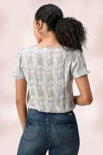 V-Neck Puff Sleeves Tie Dye Stripe Blouse - Grey - Back