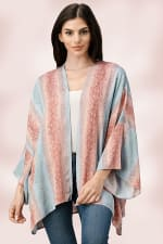 Oversized Kimono in Snakeskin Printed - Blue / Pink - Front