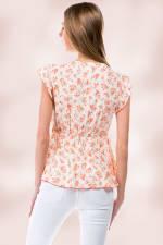 Floral Ditsy Tie Front Flutter Sleeve Babydoll Top - Ivory - Back