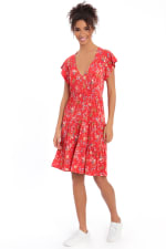 Abigail Short Sleeve V-Neck Tiered Babydoll Dress - Petite - 1