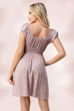 Bow Tie Front Cap Sleeves Daisy Floral Emma Dress - Pink - Back