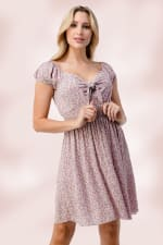 Bow Tie Front Cap Sleeves Daisy Floral Emma Dress - Pink - Front