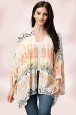 Oversized Multi Color Top Kimono - Multi - Front