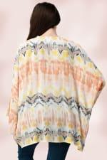 Oversized Multi Color Top Kimono - Multi - Back