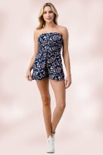Side Ruched Tube Romper Top - 4