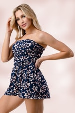 Side Ruched Tube Romper Top - 3