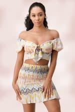 Crop Top Mini Skirt Matching Set - 3