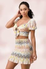 Crop Top Mini Skirt Matching Set - 4
