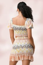 Crop Top Mini Skirt Matching Set - Multi - Back