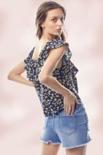 Flounce Ruffle Neck Ditsy Floral Tie Front Top - 2
