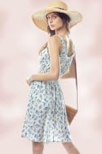 Ditsy Smock Sleeve Tie Neck Dress - 4
