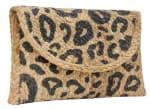 Straw Leopard Print Clutch - 1