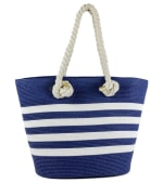 Striped Rope Handle Beach Tote - 1