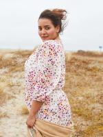 Mini Floral Knee Length  Dress - Plus - 2