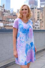 Violet Tie Dye V-Neck Dress - 3