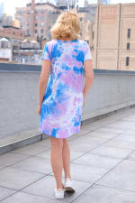 Violet Tie Dye V-Neck Dress - Misses - Violet/Blue - Back