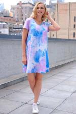 Violet Tie Dye V-Neck Dress - 5