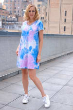 Violet Tie Dye V-Neck Dress - Misses - Violet/Blue - Front