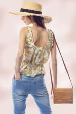 Shirred Shoulder Strapped Emma Ditsy Floral Top - Lavender - Back