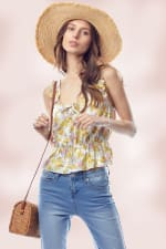Shirred Shoulder Strapped Emma Ditsy Floral Top - Lavender - Front