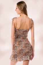 Animal Leopard All Over Smocking Tube Dress - Rust / Black - Back