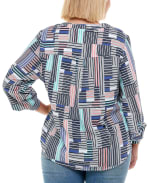 Mandarin Collar 3/4 Sleeve Utility Shirt - Plus - Tiffany Block Stripe - Back