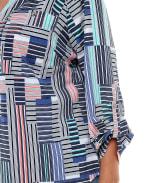 Mandarin Collar 3/4 Sleeve Utility Shirt - Plus - Tiffany Block Stripe - Detail