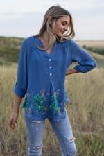 Embroidered Popover Blouse - Misses - Blue - Front