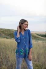 Embroidered Popover Blouse - 7