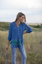 Embroidered Popover Blouse - 8