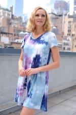 Magenta Tie Dye V-Neck Dress - 4