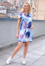 Magenta Tie Dye V-Neck Dress - 6