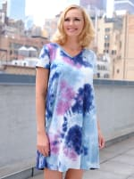 Magenta Tie Dye V-Neck Dress - Magenta/Navy - Front