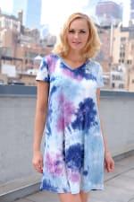 Magenta Tie Dye V-Neck Dress - 5