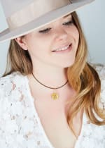 14K Gold Plated N Choker Charm Necklace - Gold - Back