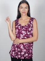 Sleeveless Bouquet Floral Tier Knit top - Misses - Burgundy/Rose - Front