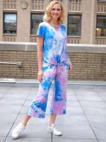 Violet Tie Dye Wide Leg Capri - Misses - Violet/blue - Front