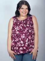 Sleeveless Bouquet Floral Tier Knit top - Plus - Burgundy/Rose - Front