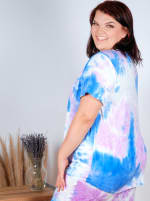 Violet Tie Dye Keyhole Tee - Plus - Violet/Blue - Back
