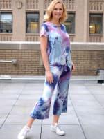 Magenta Tie Dye Wide Leg Capri - 5