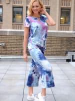 Magenta Tie Dye Wide Leg Capri - 4