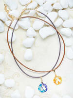 14K Gold Plated A Choker Charm Necklace - Gold - Back