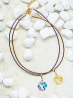 14K Gold Plated F Choker Charm Necklace - Gold - Back