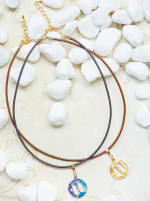 14K Gold Plated H Choker Charm Necklace - 2