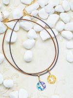 14K Gold Plated I Choker Charm Necklace - Gold - Back