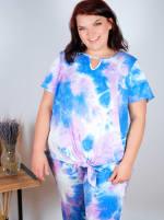 Violet Tie Dye Wide Leg Capri - Plus - 4