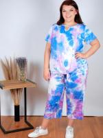 Violet Tie Dye Wide Leg Capri - Plus - 3