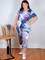 Magenta Tie Dye Wide Leg Capri - Plus - 3