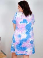 Violet Tie Dye V-Neck Dress - Plus - Violet/Blue - Back