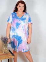 Violet Tie Dye V-Neck Dress - Plus - 4